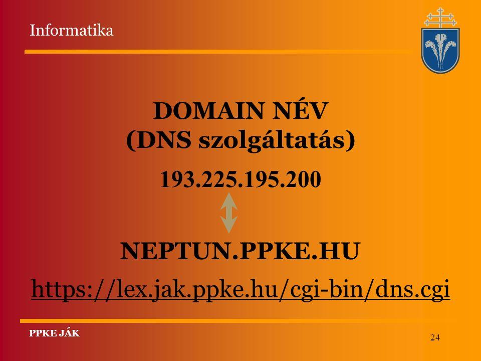 24 DOMAIN NÉV (DNS szolgáltatás) 193.225.195.200 NEPTUN.PPKE.HU https://lex.jak.ppke.hu/cgi-bin/dns.cgi Informatika PPKE JÁK