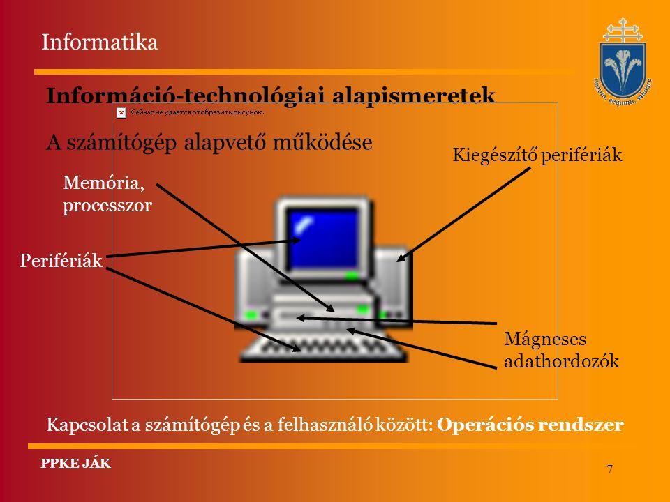 7 Információ-technológiai alapismeretek A számítógép alapvető működése Kapcsolat a számítógép és a felhasználó között: Operációs rendszer Memória, processzor Perifériák Kiegészítő perifériák Mágneses adathordozók Informatika PPKE JÁK