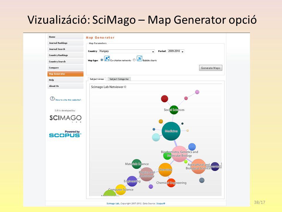 Vizualizáció: SciMago – Map Generator opció 38/17