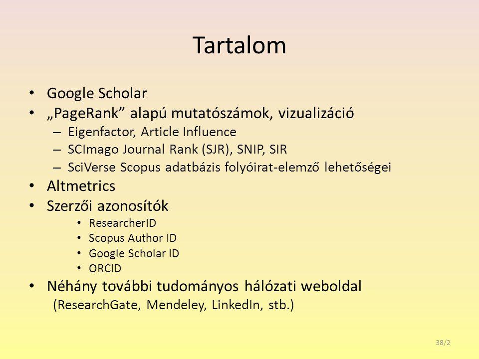 """Tartalom Google Scholar """"PageRank alapú mutatószámok, vizualizáció – Eigenfactor, Article Influence – SCImago Journal Rank (SJR), SNIP, SIR – SciVerse Scopus adatbázis folyóirat-elemző lehetőségei Altmetrics Szerzői azonosítók ResearcherID Scopus Author ID Google Scholar ID ORCID Néhány további tudományos hálózati weboldal (ResearchGate, Mendeley, LinkedIn, stb.) 38/2"""