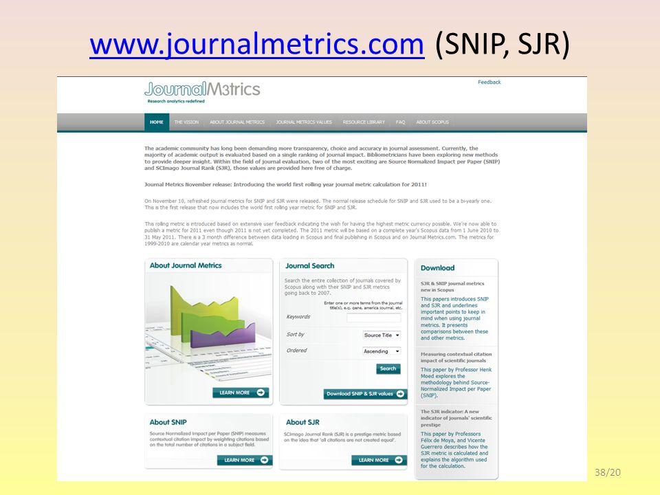 www.journalmetrics.comwww.journalmetrics.com (SNIP, SJR) 38/20