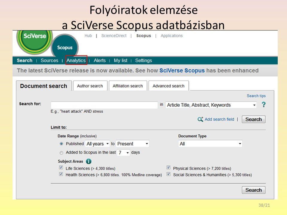 Folyóiratok elemzése a SciVerse Scopus adatbázisban 38/21