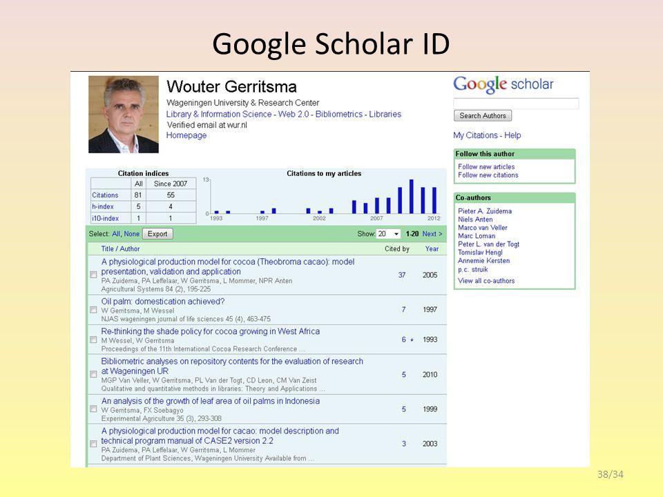 Google Scholar ID 38/34