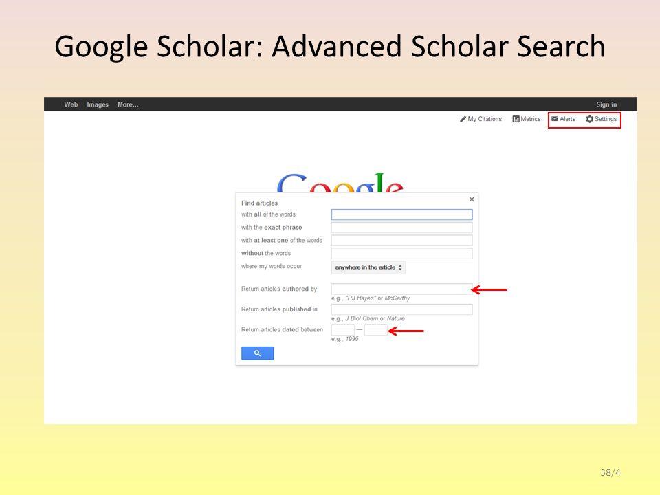 Google Scholar: Scholar settings 38/5