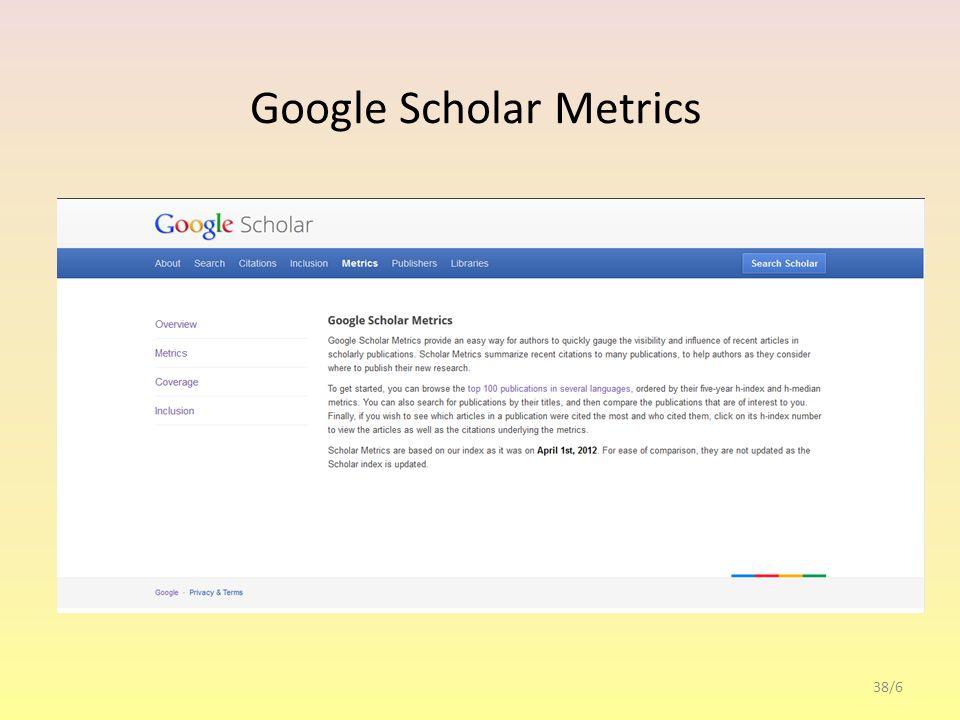 Google Scholar Citations 38/7 regisztrációval