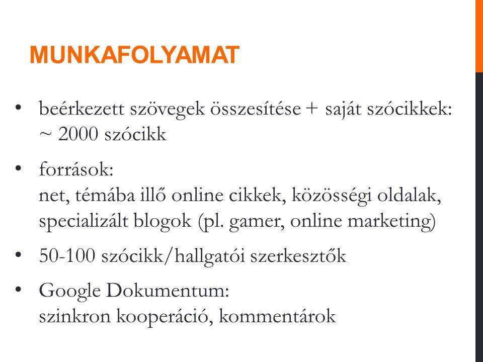 MUNKAFOLYAMAT beérkezett szövegek összesítése + saját szócikkek: ~ 2000 szócikk források: net, témába illő online cikkek, közösségi oldalak, specializ