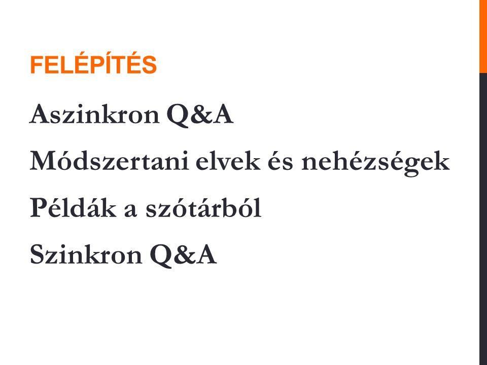 FELÉPÍTÉS Aszinkron Q&A Módszertani elvek és nehézségek Példák a szótárból Szinkron Q&A