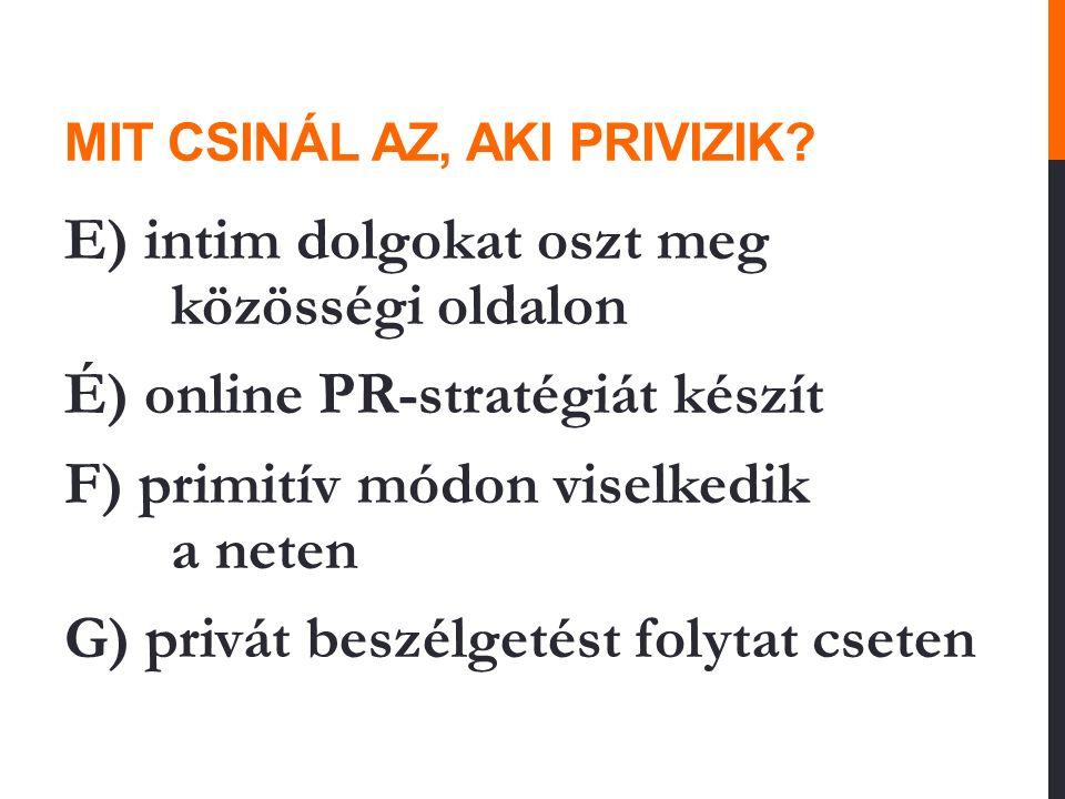 MIT CSINÁL AZ, AKI PRIVIZIK? E) intim dolgokat oszt meg közösségi oldalon É) online PR-stratégiát készít F) primitív módon viselkedik a neten G) privá