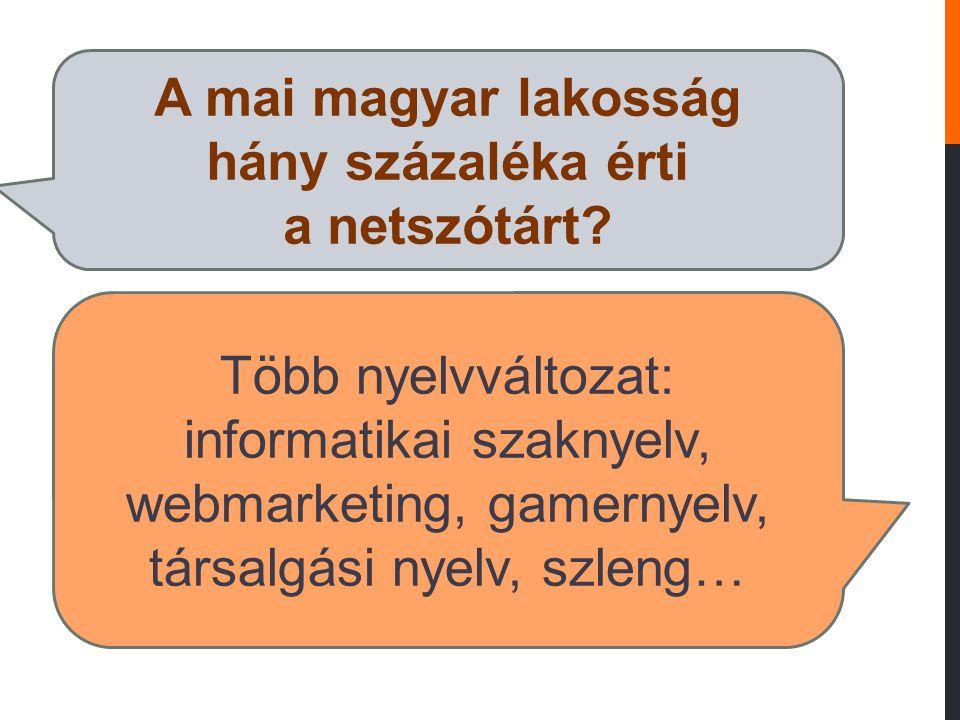 A mai magyar lakosság hány százaléka érti a netszótárt? Több nyelvváltozat: informatikai szaknyelv, webmarketing, gamernyelv, társalgási nyelv, szleng