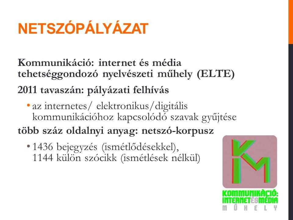 NETSZÓPÁLYÁZAT Kommunikáció: internet és média tehetséggondozó nyelvészeti műhely (ELTE) 2011 tavaszán: pályázati felhívás az internetes/ elektronikus