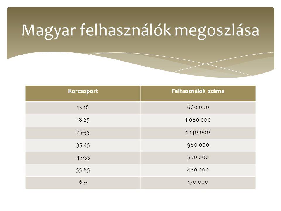KorcsoportFelhasználók száma 13-18660 000 18-251 060 000 25-351 140 000 35-45980 000 45-55500 000 55-65480 000 65-170 000 Magyar felhasználók megoszlása