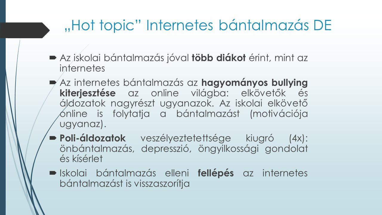 """""""Hot topic Internetes bántalmazás DE  Az iskolai bántalmazás jóval több diákot érint, mint az internetes  Az internetes bántalmazás az hagyományos bullying kiterjesztése az online világba: elkövetők és áldozatok nagyrészt ugyanazok."""