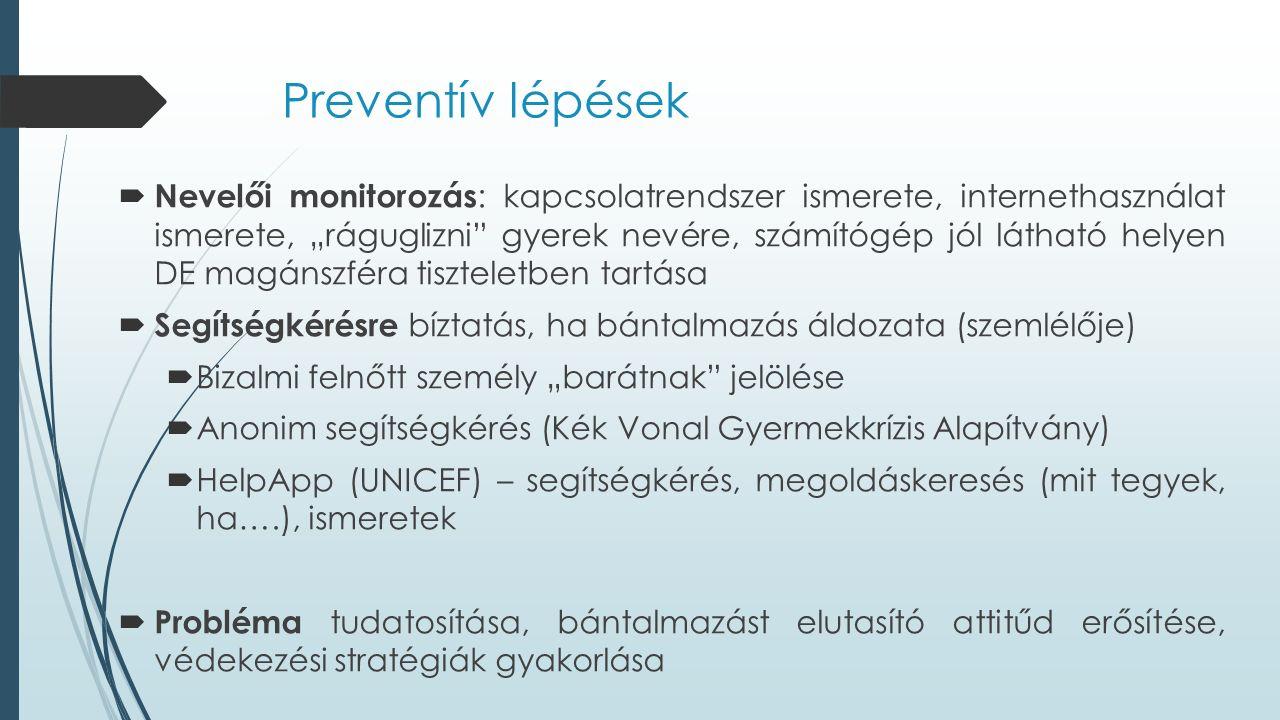 """Preventív lépések  Nevelői monitorozás : kapcsolatrendszer ismerete, internethasználat ismerete, """"ráguglizni gyerek nevére, számítógép jól látható helyen DE magánszféra tiszteletben tartása  Segítségkérésre bíztatás, ha bántalmazás áldozata (szemlélője)  Bizalmi felnőtt személy """"barátnak jelölése  Anonim segítségkérés (Kék Vonal Gyermekkrízis Alapítvány)  HelpApp (UNICEF) – segítségkérés, megoldáskeresés (mit tegyek, ha….), ismeretek  Probléma tudatosítása, bántalmazást elutasító attitűd erősítése, védekezési stratégiák gyakorlása"""