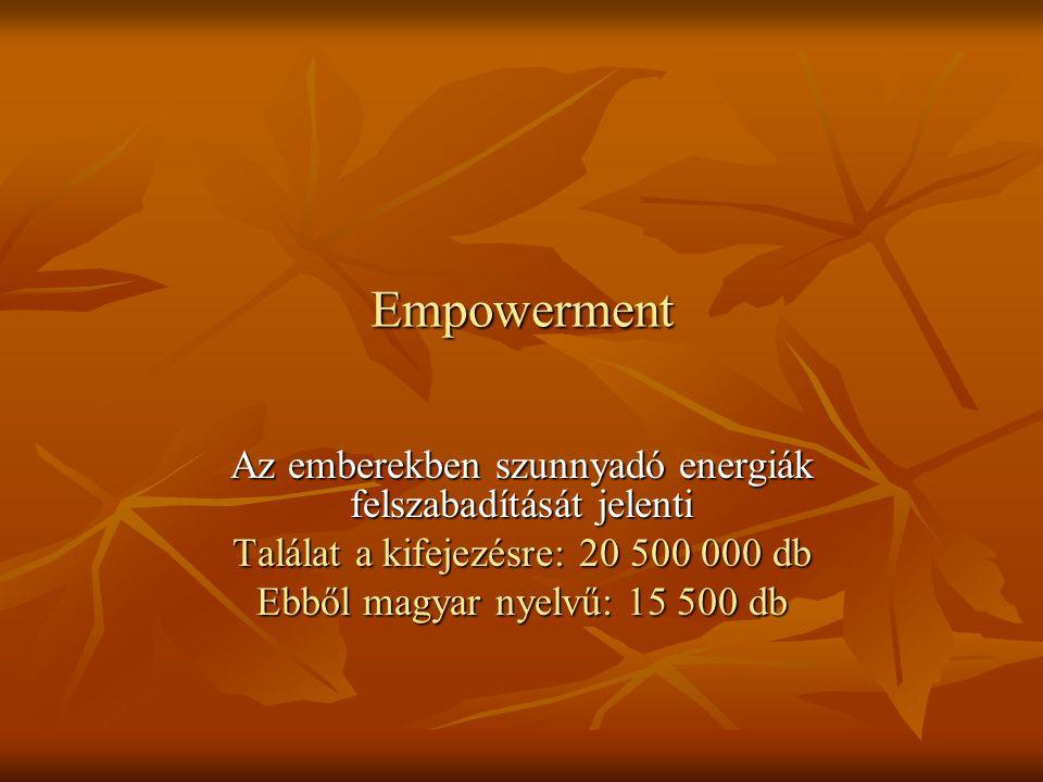 Empowerment Az emberekben szunnyadó energiák felszabadítását jelenti Találat a kifejezésre: 20 500 000 db Ebből magyar nyelvű: 15 500 db
