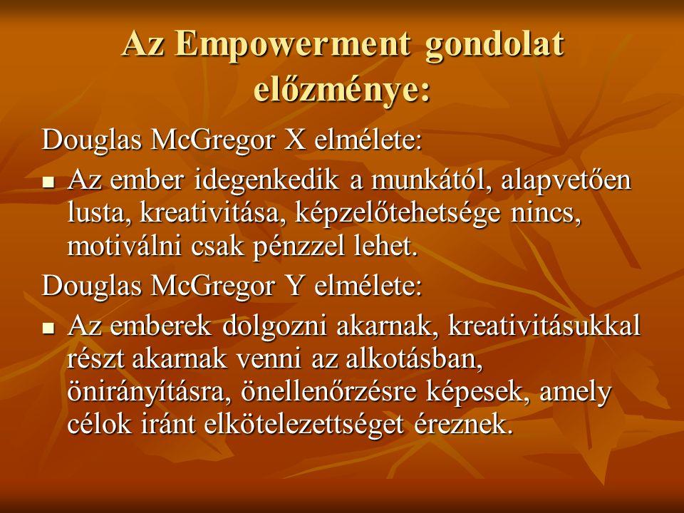 Az Empowerment gondolat előzménye: Douglas McGregor X elmélete: Az ember idegenkedik a munkától, alapvetően lusta, kreativitása, képzelőtehetsége nincs, motiválni csak pénzzel lehet.