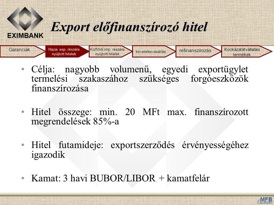 EXIMBANK MFB CSOPORT Export előfinanszírozó hitel Célja: nagyobb volumenű, egyedi exportügylet termelési szakaszához szükséges forgóeszközök finanszírozása Hitel összege: min.