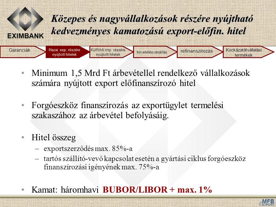 EXIMBANK MFB CSOPORT Közepes és nagyvállalkozások részére nyújtható kedvezményes kamatozású export-előfin. hitel Minimum 1,5 Mrd Ft árbevétellel rende