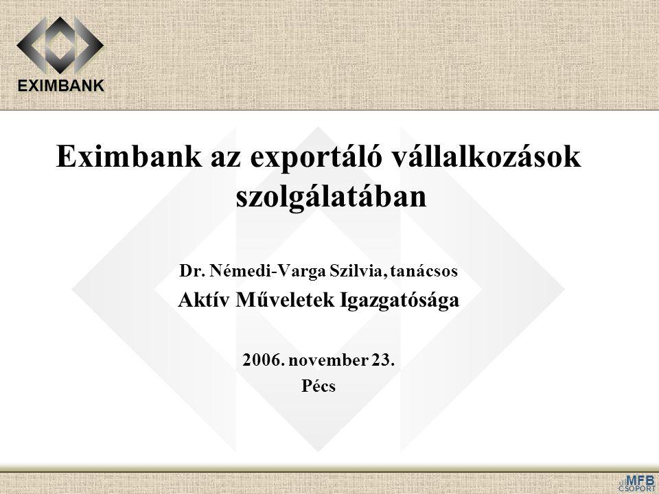 EXIMBANK MFB CSOPORT Eximbank az exportáló vállalkozások szolgálatában Dr. Némedi-Varga Szilvia, tanácsos Aktív Műveletek Igazgatósága 2006. november