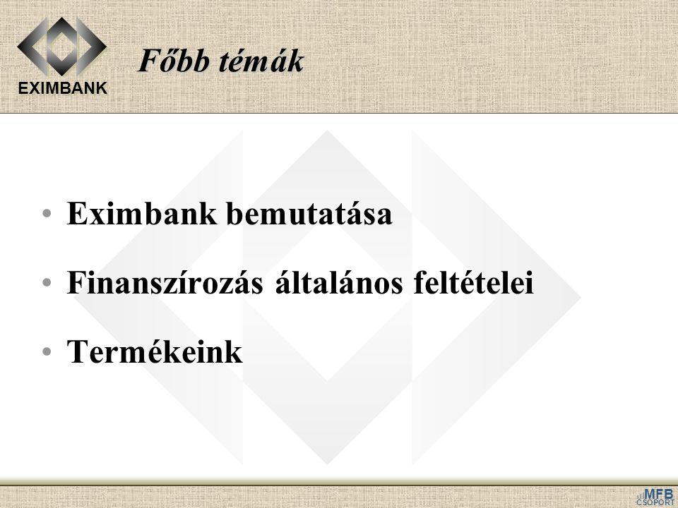 EXIMBANK MFB CSOPORT Főbb témák Eximbank bemutatása Finanszírozás általános feltételei Termékeink