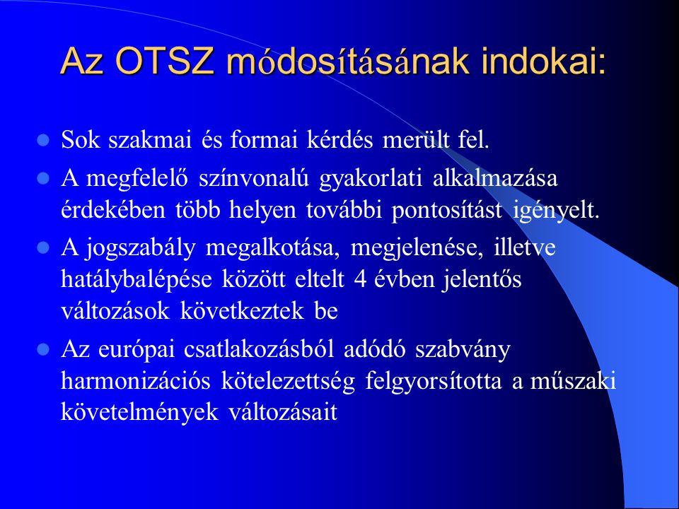 Az OTSZ m ó dos í t á s á nak indokai: Sok szakmai és formai kérdés merült fel.