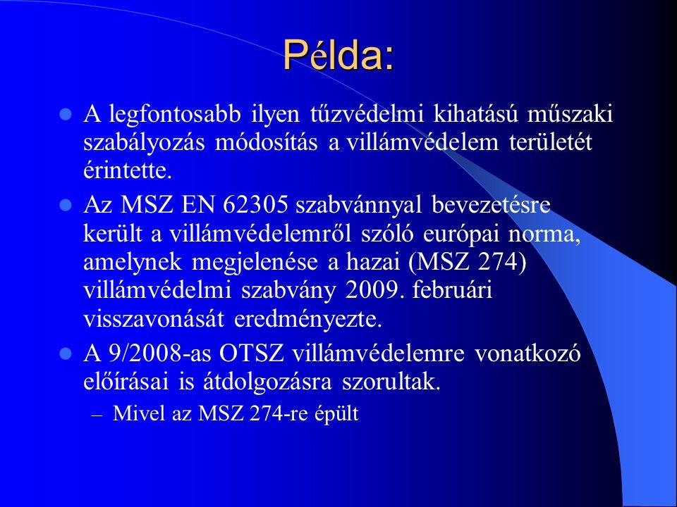 P é lda: A legfontosabb ilyen tűzvédelmi kihatású műszaki szabályozás módosítás a villámvédelem területét érintette.