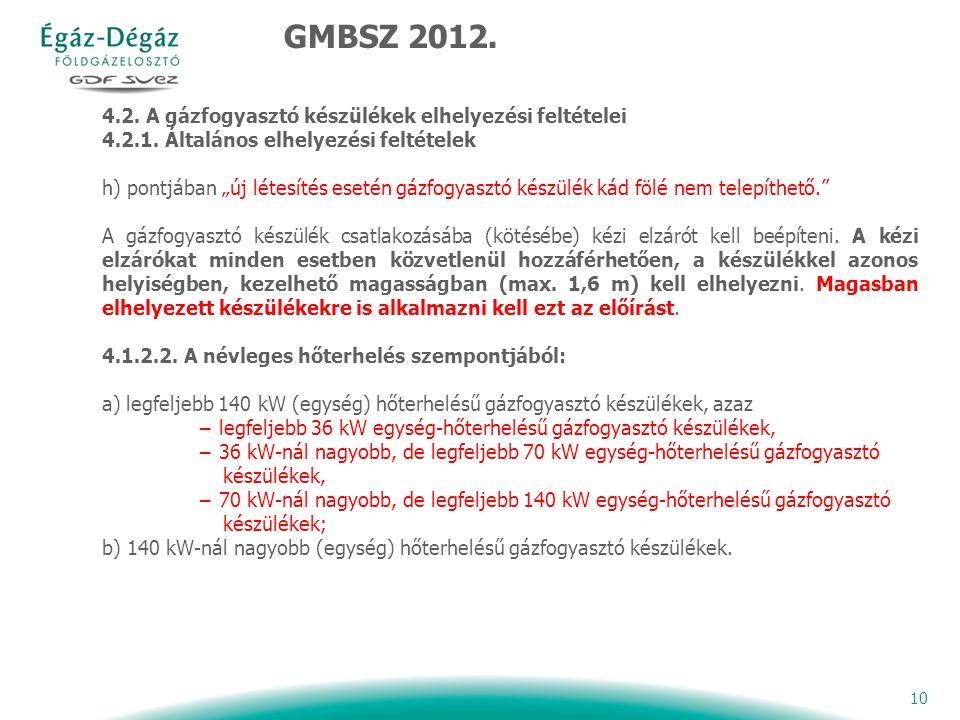 10 4.2. A gázfogyasztó készülékek elhelyezési feltételei 4.2.1.