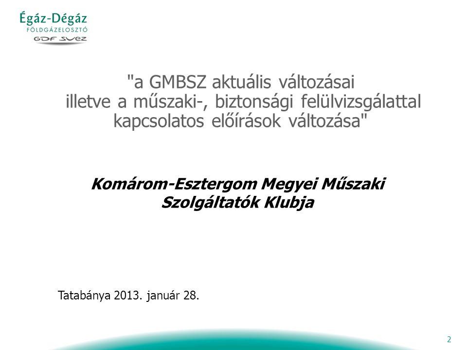 2 a GMBSZ aktuális változásai illetve a műszaki-, biztonsági felülvizsgálattal kapcsolatos előírások változása Tatabánya 2013.