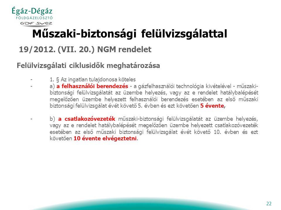 22 Műszaki-biztonsági felülvizsgálattal 19/2012. (VII.