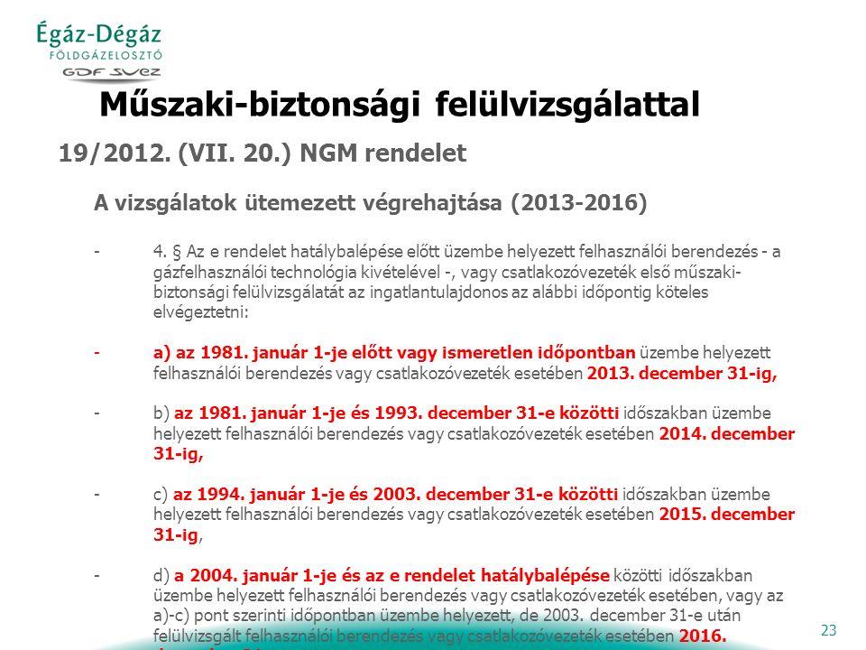 23 Műszaki-biztonsági felülvizsgálattal 19/2012. (VII.