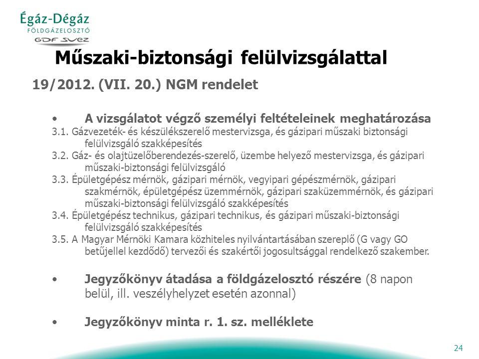 24 Műszaki-biztonsági felülvizsgálattal 19/2012. (VII.