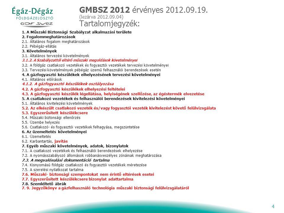 4 GMBSZ 2012 érvényes 2012.09.19. (lezárva 2012.09.04) Tartalomjegyzék: 1.