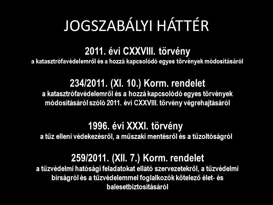 JOGSZABÁLYI HÁTTÉR 2011. évi CXXVIII. törvény a katasztrófavédelemről és a hozzá kapcsolódó egyes törvények módosításáról 234/2011. (XI. 10.) Korm. re