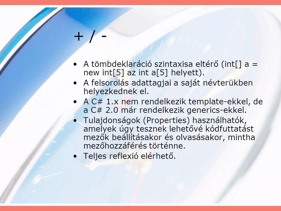 + / - A tömbdeklaráció szintaxisa eltérő (int[] a = new int[5] az int a[5] helyett).