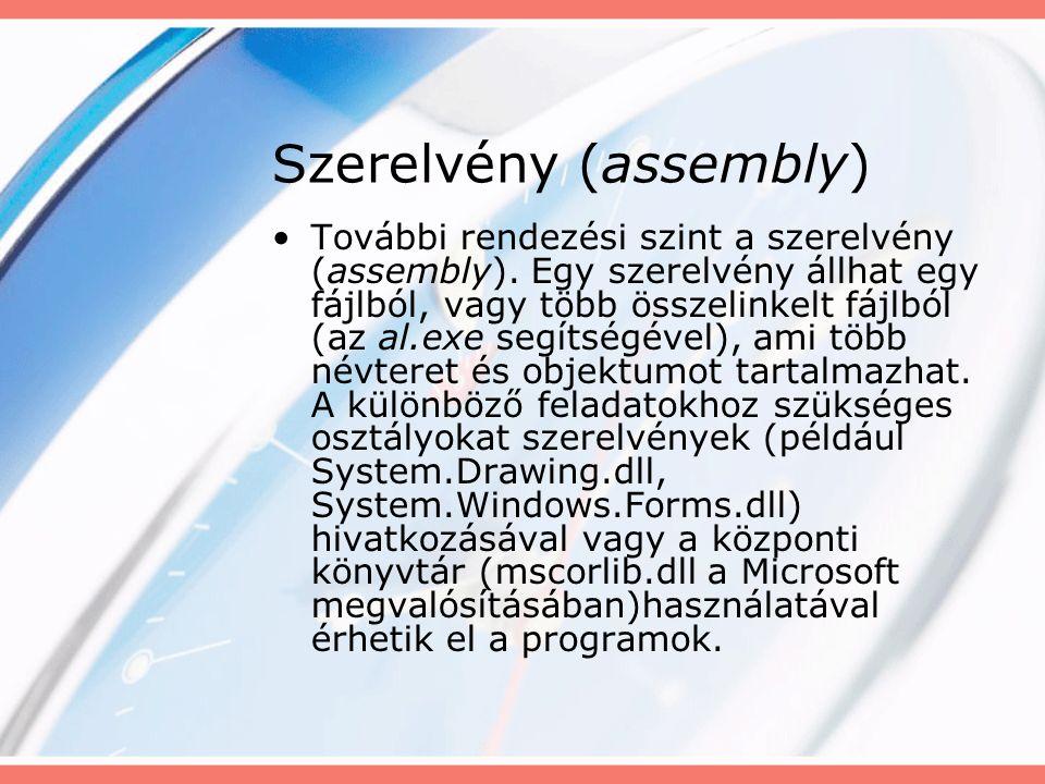 Szerelvény (assembly) További rendezési szint a szerelvény (assembly).