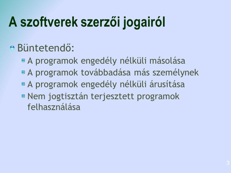 A szoftverek szerzői jogairól Büntetendő: A programok engedély nélküli másolása A programok továbbadása más személynek A programok engedély nélküli árusítása Nem jogtisztán terjesztett programok felhasználása 3