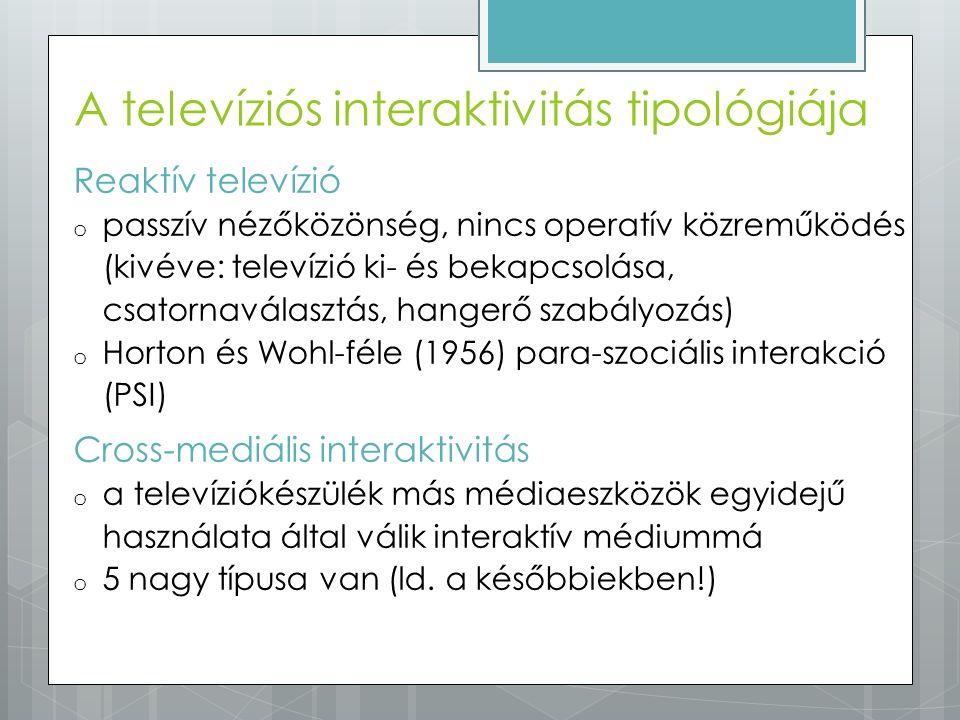 Reaktív televízió o passzív nézőközönség, nincs operatív közreműködés (kivéve: televízió ki- és bekapcsolása, csatornaválasztás, hangerő szabályozás)
