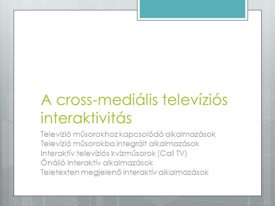 A cross-mediális televíziós interaktivitás Televízió műsorokhoz kapcsolódó alkalmazások Televízió műsorokba integrált alkalmazások Interaktív televízi
