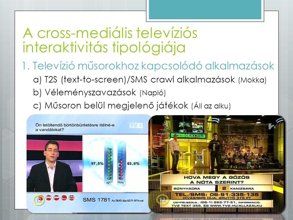 A cross-mediális televíziós interaktivitás tipológiája 1.Televízió műsorokhoz kapcsolódó alkalmazások a)T2S (text-to-screen)/SMS crawl alkalmazások (M