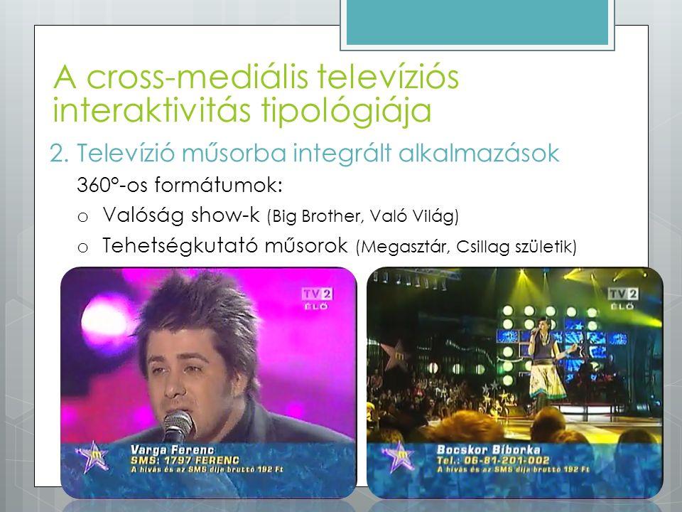 A cross-mediális televíziós interaktivitás tipológiája 2.Televízió műsorba integrált alkalmazások 360°-os formátumok: o Valóság show-k (Big Brother, V