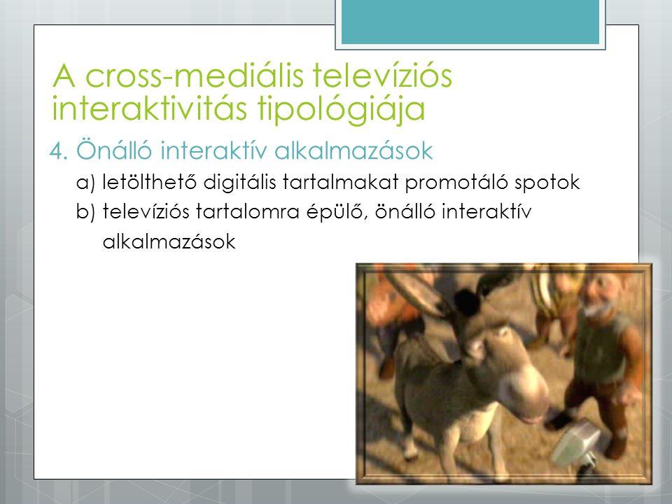 A cross-mediális televíziós interaktivitás tipológiája 4.Önálló interaktív alkalmazások a)letölthető digitális tartalmakat promotáló spotok b)televízi