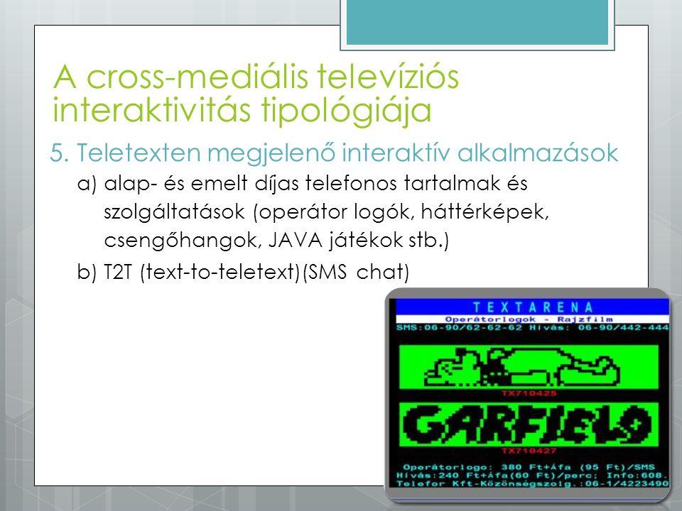 A cross-mediális televíziós interaktivitás tipológiája 5.Teletexten megjelenő interaktív alkalmazások a)alap- és emelt díjas telefonos tartalmak és sz