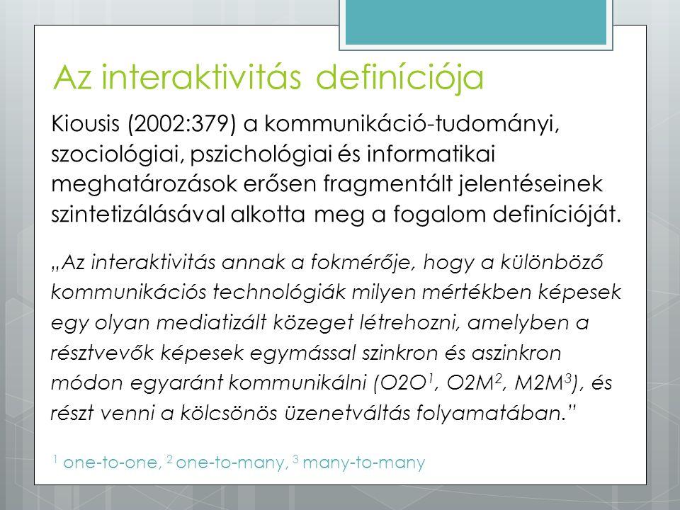 Kiousis (2002:379) a kommunikáció-tudományi, szociológiai, pszichológiai és informatikai meghatározások erősen fragmentált jelentéseinek szintetizálás