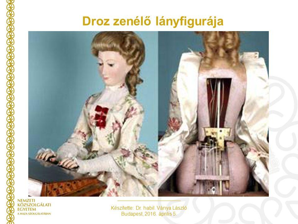 Készítette: Dr. habil. Ványa László Budapest, 2016. április 5. Droz zenélő lányfigurája