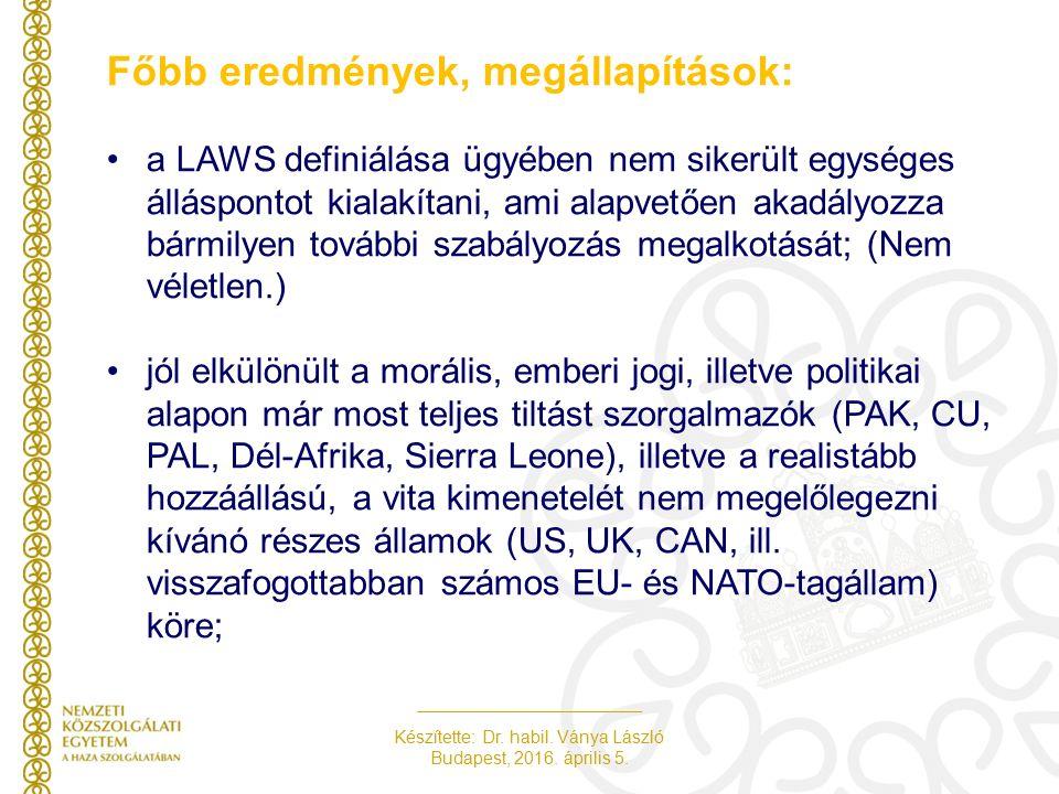 Készítette: Dr. habil. Ványa László Budapest, 2016.