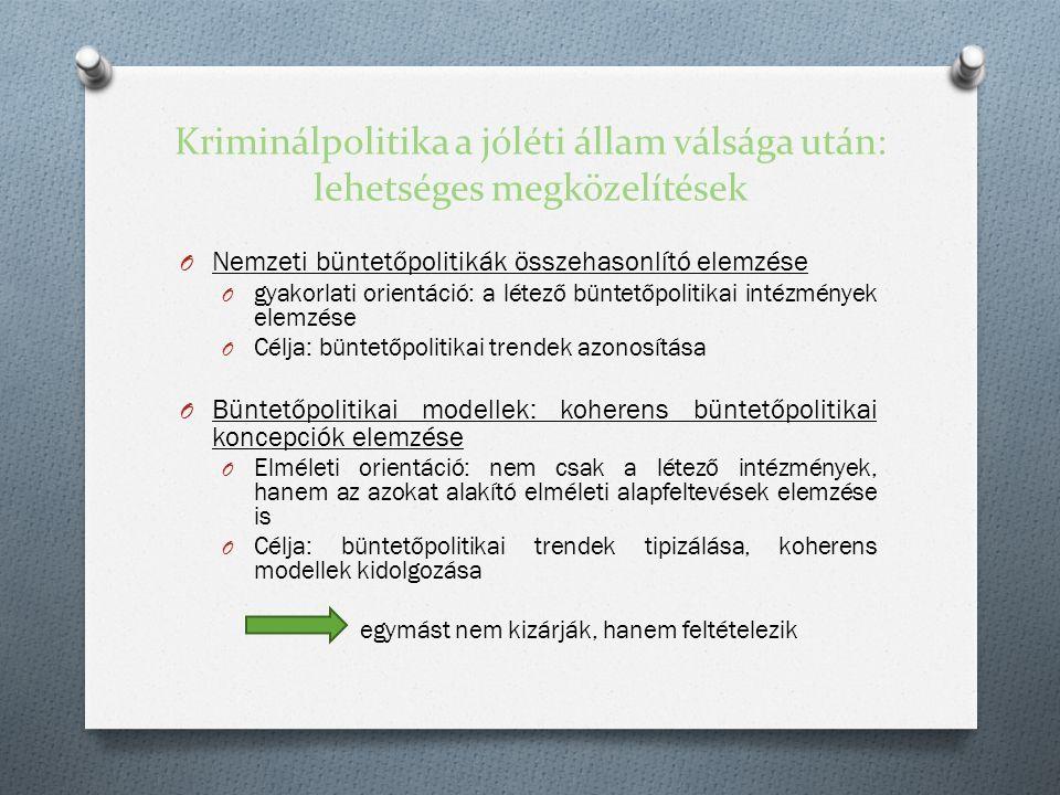 Kriminálpolitika a jóléti állam válsága után: lehetséges megközelítések O Nemzeti büntetőpolitikák összehasonlító elemzése O gyakorlati orientáció: a létező büntetőpolitikai intézmények elemzése O Célja: büntetőpolitikai trendek azonosítása O Büntetőpolitikai modellek: koherens büntetőpolitikai koncepciók elemzése O Elméleti orientáció: nem csak a létező intézmények, hanem az azokat alakító elméleti alapfeltevések elemzése is O Célja: büntetőpolitikai trendek tipizálása, koherens modellek kidolgozása egymást nem kizárják, hanem feltételezik