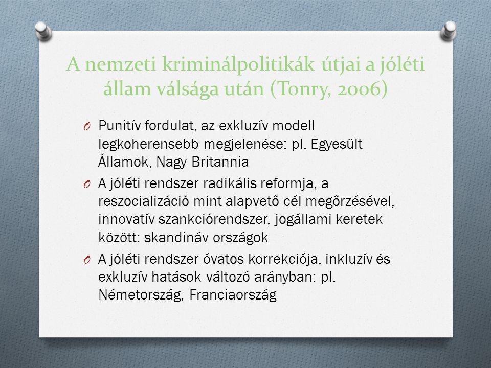 A nemzeti kriminálpolitikák útjai a jóléti állam válsága után (Tonry, 2006) O Punitív fordulat, az exkluzív modell legkoherensebb megjelenése: pl.