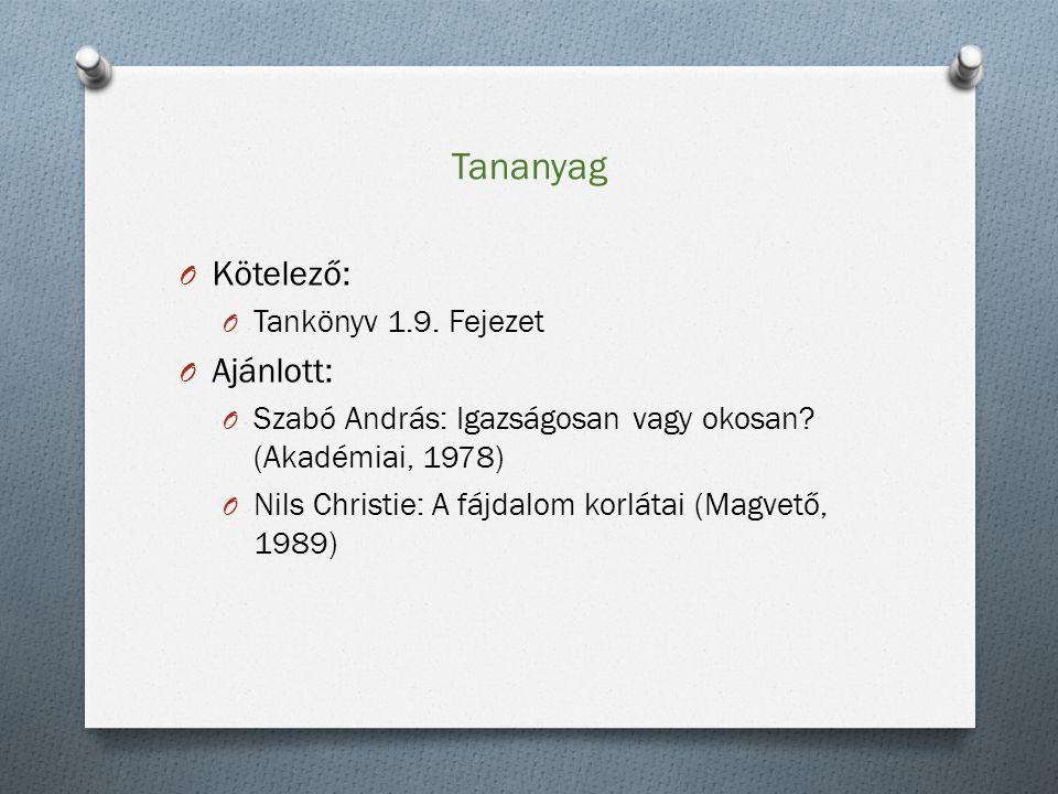 Tananyag O Kötelező: O Tankönyv 1.9. Fejezet O Ajánlott: O Szabó András: Igazságosan vagy okosan.