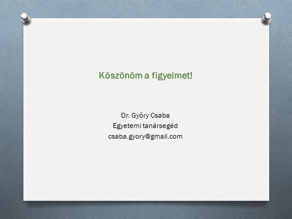 Köszönöm a figyelmet! Dr. Győry Csaba Egyetemi tanársegéd csaba.gyory@gmail.com