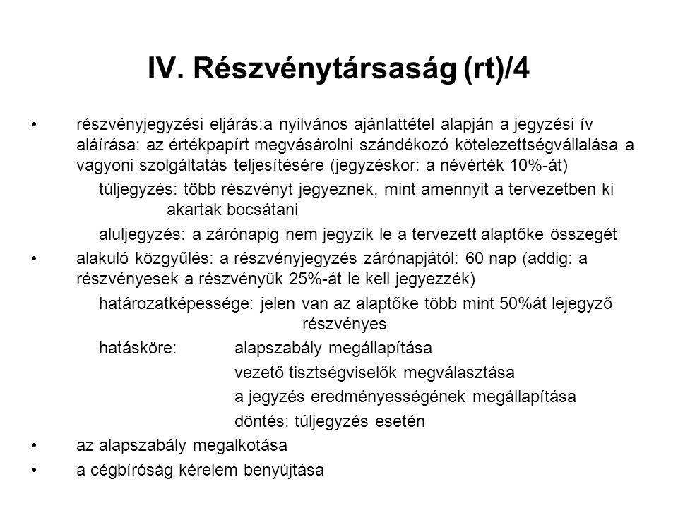 IV. Részvénytársaság (rt)/4 részvényjegyzési eljárás:a nyilvános ajánlattétel alapján a jegyzési ív aláírása: az értékpapírt megvásárolni szándékozó k