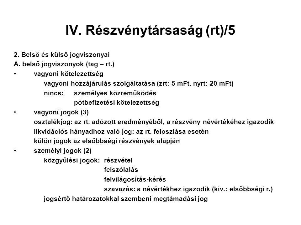 IV. Részvénytársaság (rt)/5 2. Belső és külső jogviszonyai A. belső jogviszonyok (tag – rt.) vagyoni kötelezettség vagyoni hozzájárulás szolgáltatása